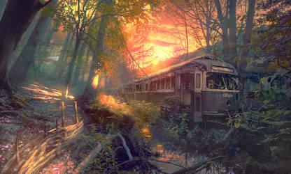 Strange train's way by Planetekrilin
