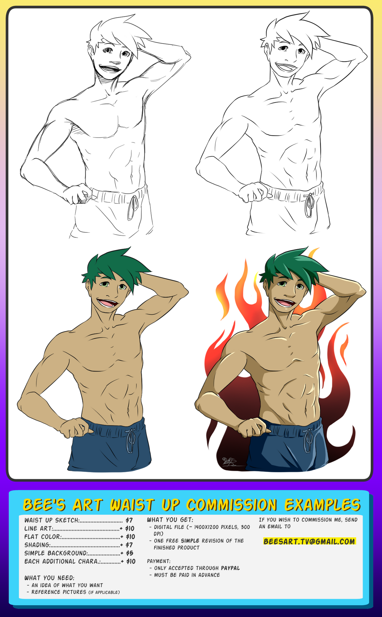 Waist Up Commission Examples/Info by Bees-Art-tv on DeviantArt
