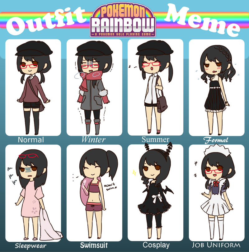 PKMN Rainbow: Outfit meme by aeonmama