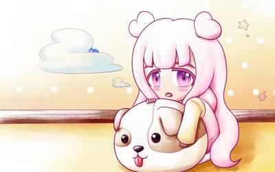 [FA] Pink Girl and Doggo by moonmute