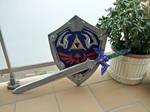Hylian shield and master sword by ArienGreenleaf