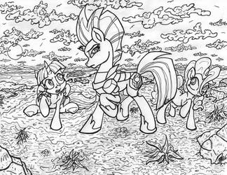 A Poignant Friendship Lesson (ink line art) by ArtPonyMDP