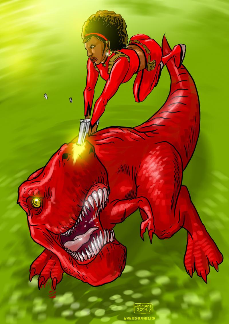 Misty Knight vs. Devil Dinosaur