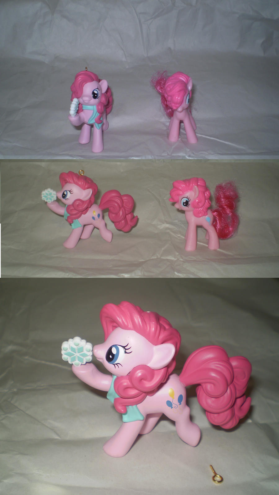 pinkie ornament vs pinkie toy by StarSongPony