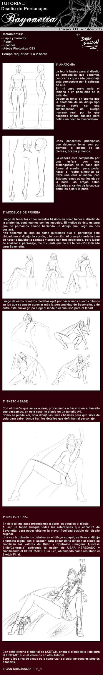 TUTORIAL 01 - SKETCH BAYONETTA by darkshadowartworks