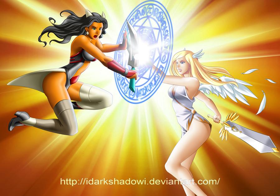COMMISSION - LINK VS STELLA by IDarkShadowI