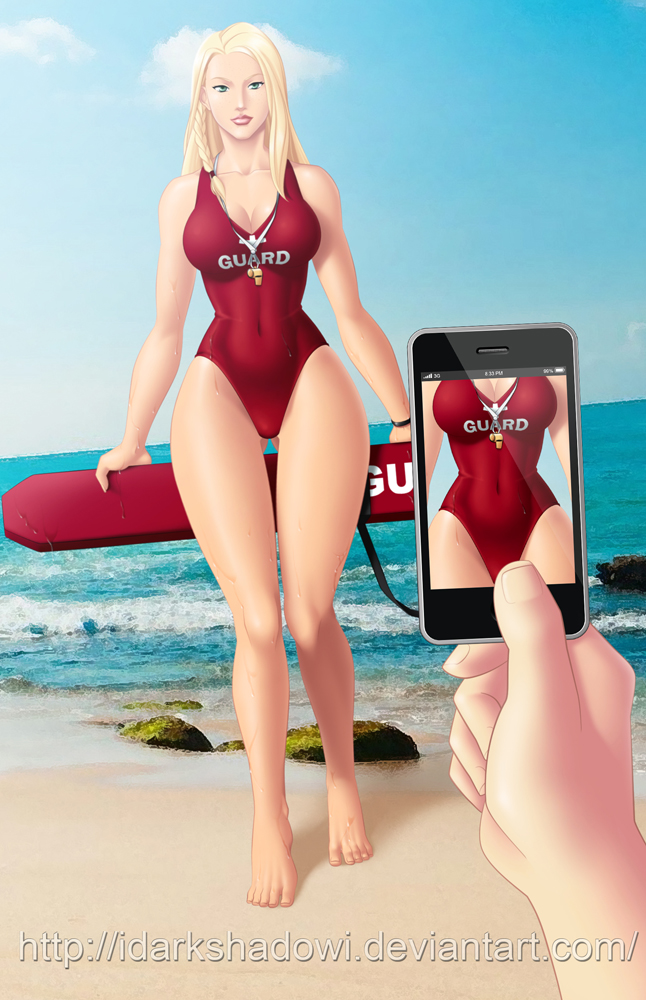 COMMISSION - Kim Larson Sexy Lifeguard by IDarkShadowI