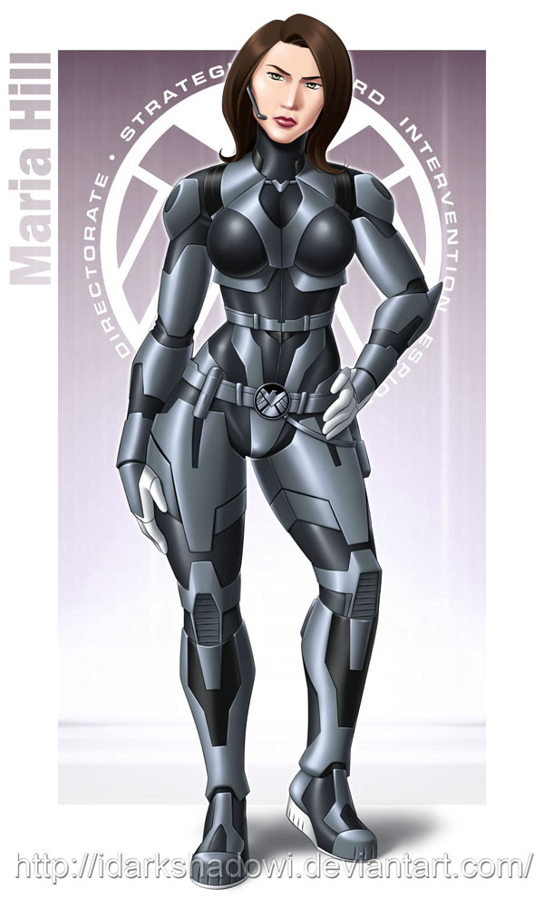 COMMISSION - Maria Hill SHIELD Battlesuit by IDarkShadowI