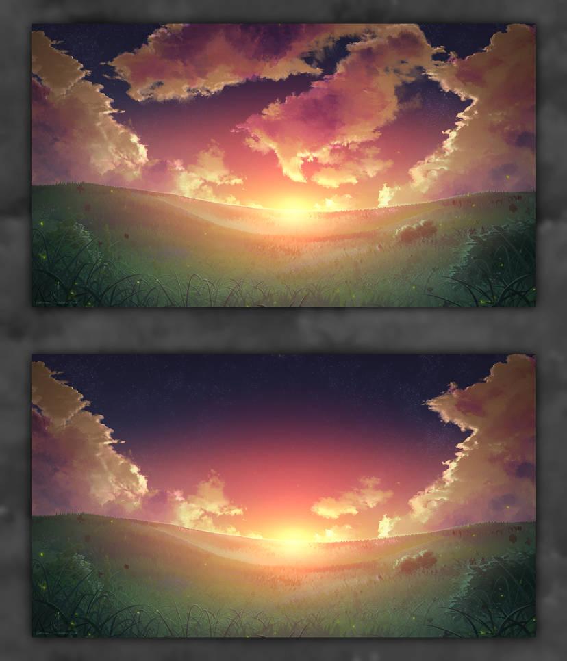 Sunset Landscape Over Valley