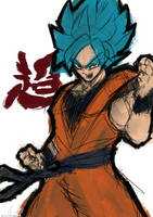 Super Saiyan Blue Goku - Sketch by AloneFlaver