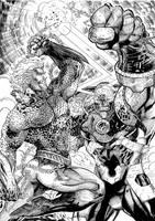 Aquaman vs. Darkseid by RobertoRibeiro