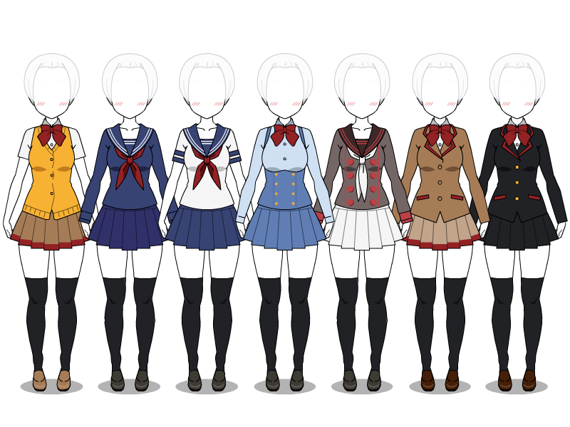 Yandere Simulator uniforms + EXPORTS by VaNeSsA-SaNa-DoOdLeS on DeviantArt