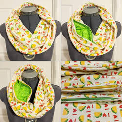 I Love Tacos Infinity Scarf with Hidden Pocket