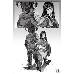 Dovahkiina and Friends [WIP artwork #1]