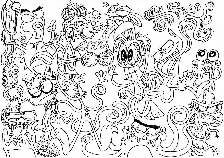 Monster doodles by abominationburger on deviantart for Doodle art monster