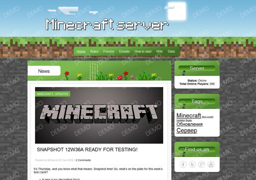 Minecraft Wordpress Template #1 by MrCatlait on DeviantArt