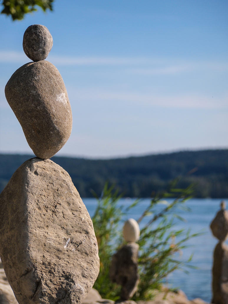 Lake of Constance - Balance, stone on stone by elDenim