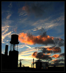Water Tower Sunset by detho9000