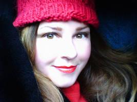 fair redhead in winter