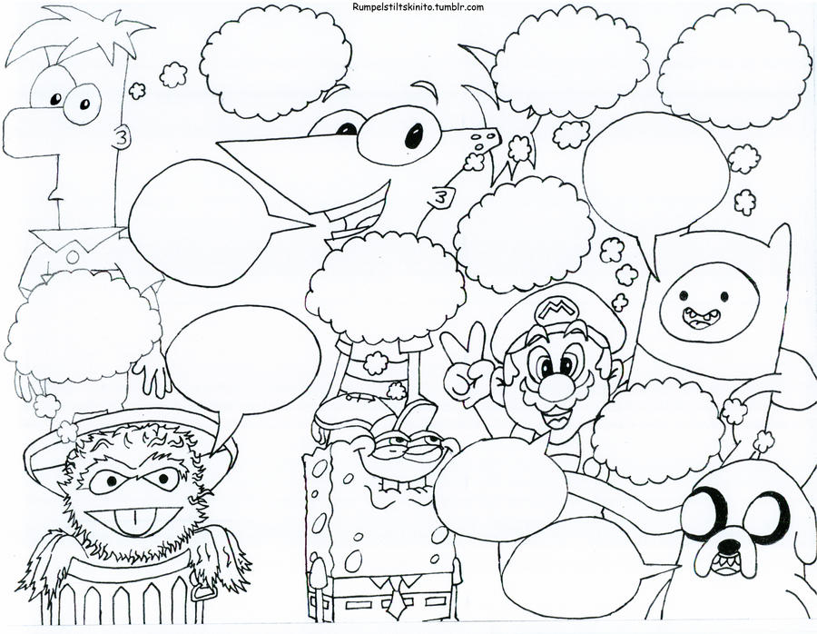 Popular Cartoon Characters Coloring Sheet By
