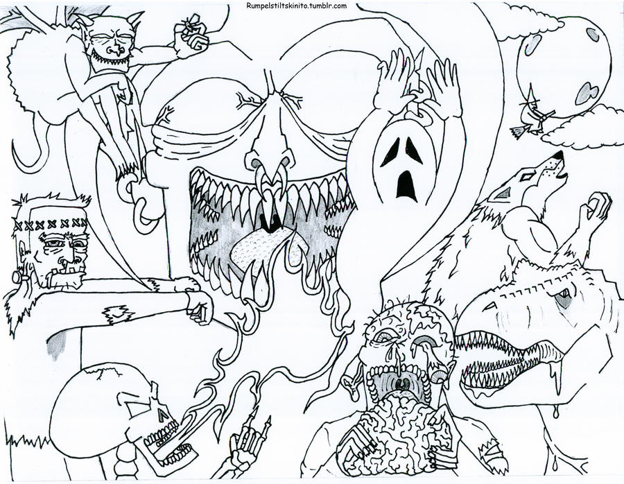 free scary monster coloring pages - photo#13