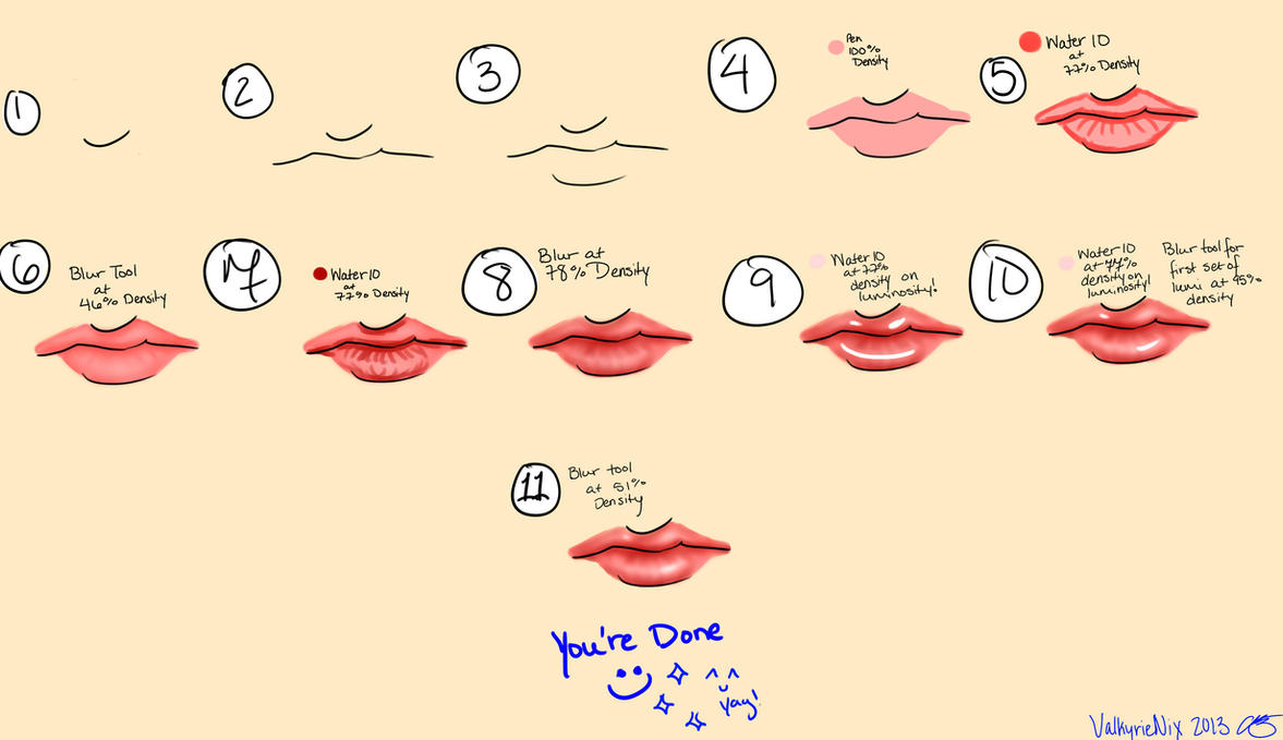 Lip Tutorial for Paint Tool Sai by ValkyrieNix