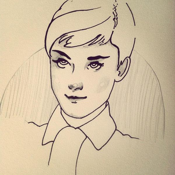 Audrey Hepburn : Inktober by mejia29