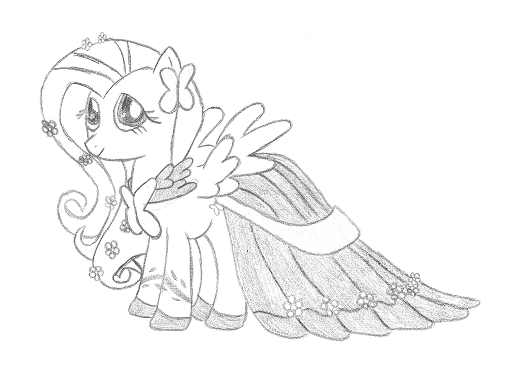 Fluttershy gala dress by phyredash on deviantart for Fluttershy coloring pages