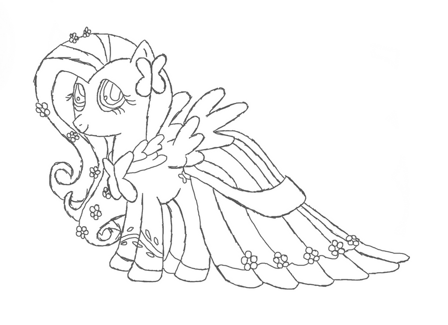 Fluttershy gala dress outline by phyredash on deviantart for Coloring pages of fluttershy