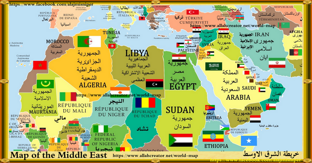 map of middle eastern countries by middle east palestin
