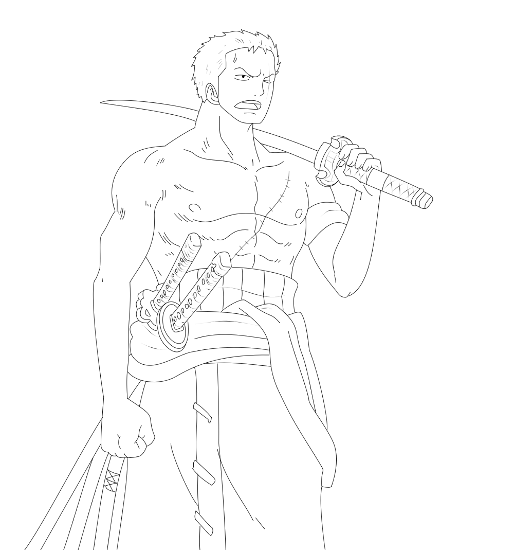 One Piece Lineart : Roronoa zoro lineart by wowauwero on deviantart