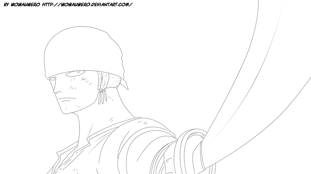 Zoro Lineart : Roronoa zoro lineart by wowauwero on deviantart