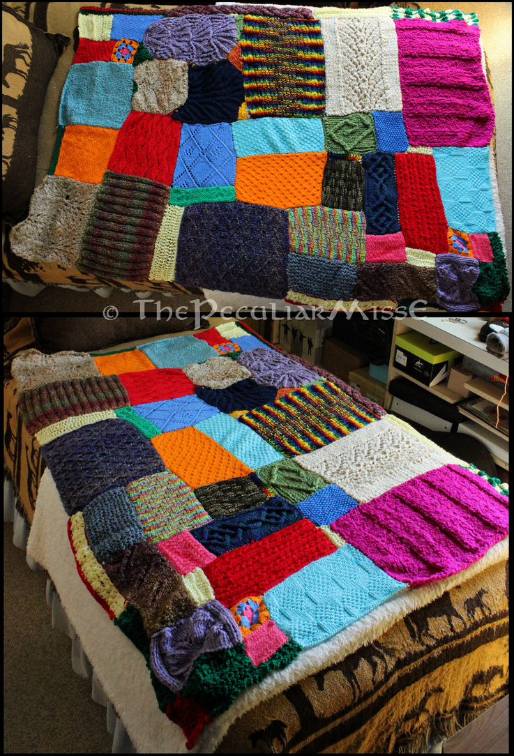 How To Knit Stitches On Scrap Yarn : Scrap Yarn Blanket by ThePeculiarMissE on DeviantArt