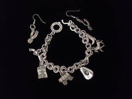 Western Charms Bracelet and Earring Set by TranquilityArtisans