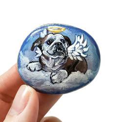 English Bulldog Angel Rock Art