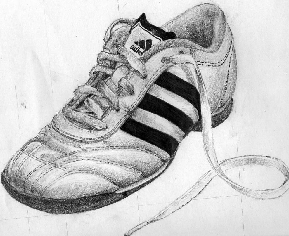 Adidas shoe pencil drawing by patiunique
