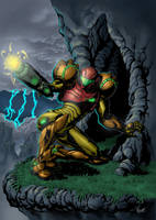 Samus Aran in Crateria by ManoelRicardo