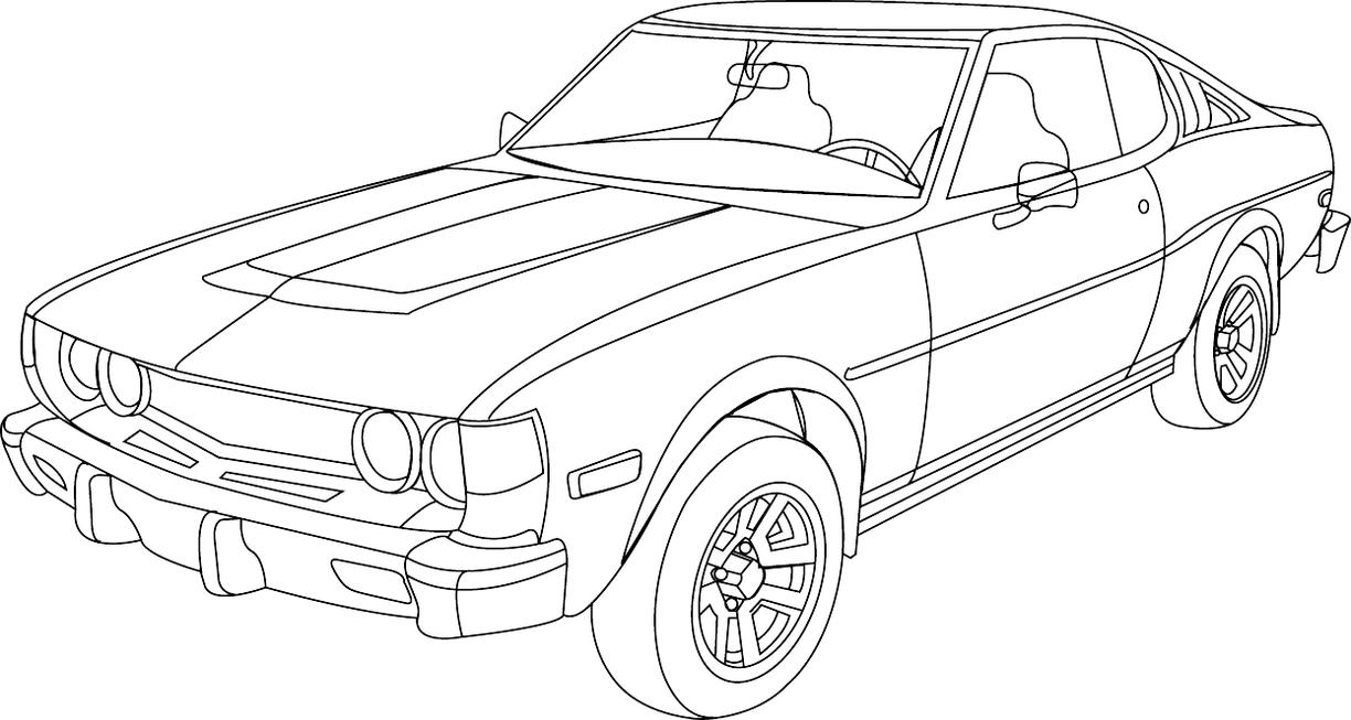 Line Drawing Car : Ford cars line drawings sketch coloring page