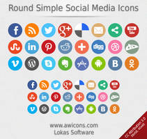 Round Simple Social Media Icons by Insofta