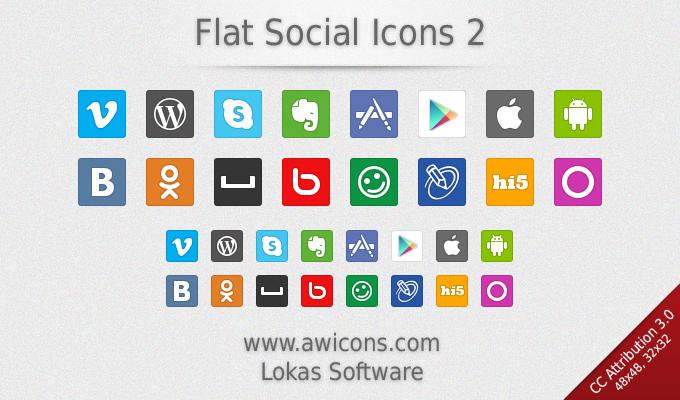 Flat Social Media Icons 2