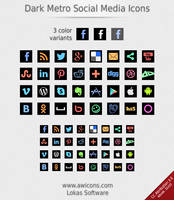Dark Metro Social Media Icons by Insofta