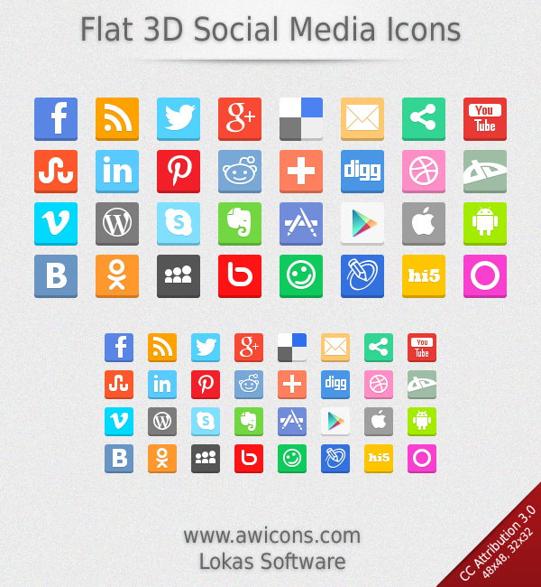 Flat 3D Social Media Icons by Insofta