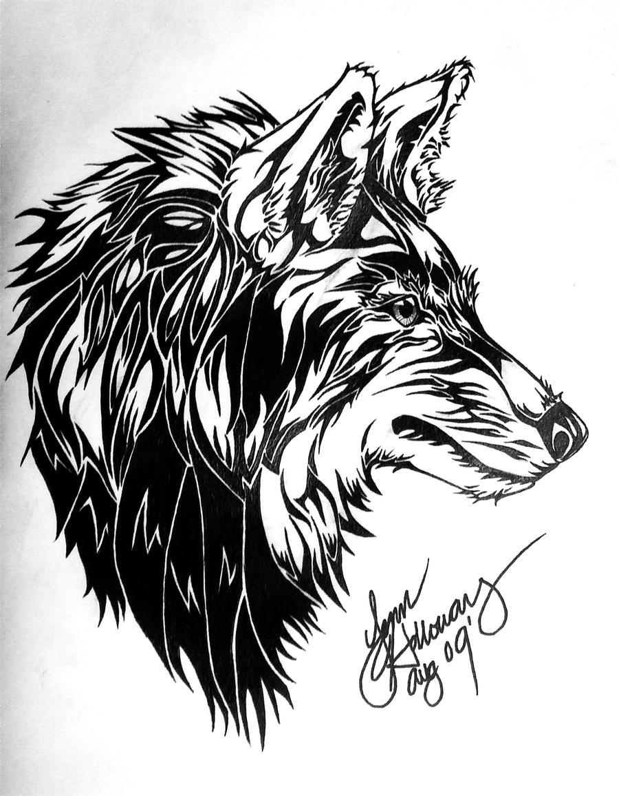 Wolf Moon Drawing Moon Drawing Tribal Wolf