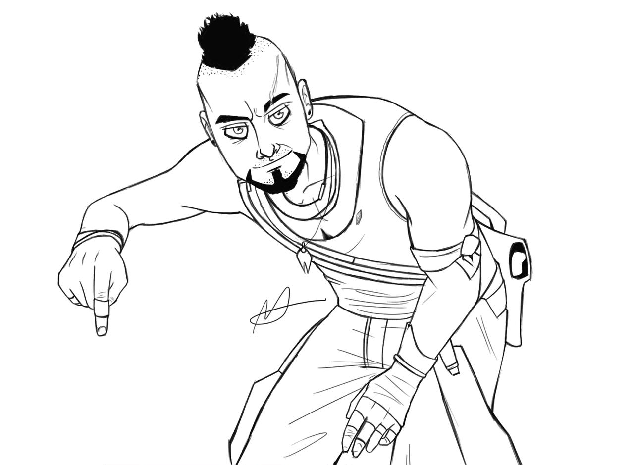 Line Art Character : Far cry character line art commission by