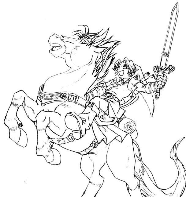 Link epona by okama no kama tsukai on deviantart - Coloriage link ...