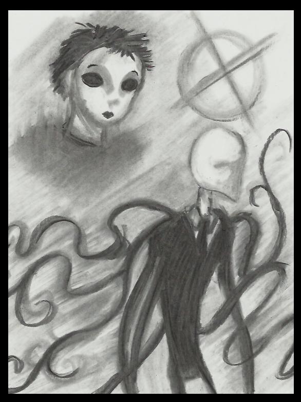 Masky and Slenderman doodle by Cageyshick05