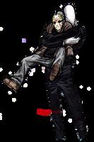 Slenderman gives Jason a hug by Cageyshick05