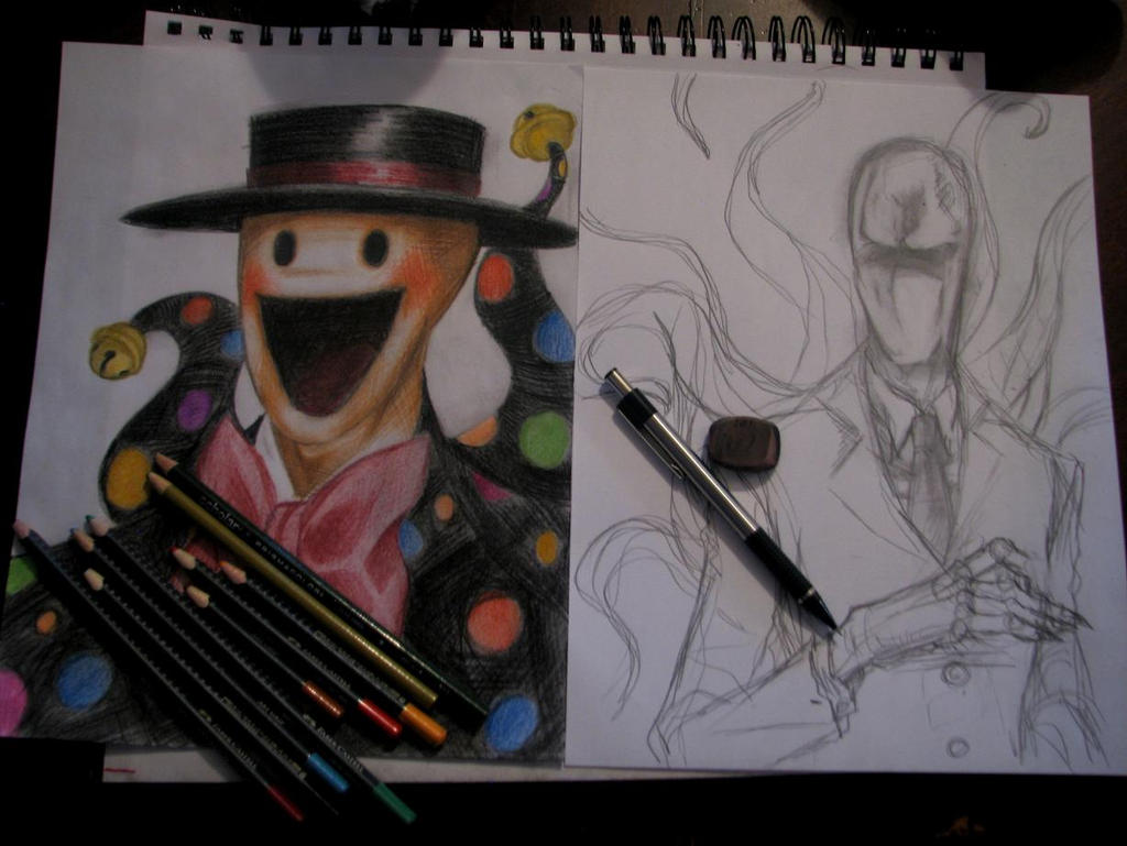 Splendorman and Slenderman WIP by Cageyshick05