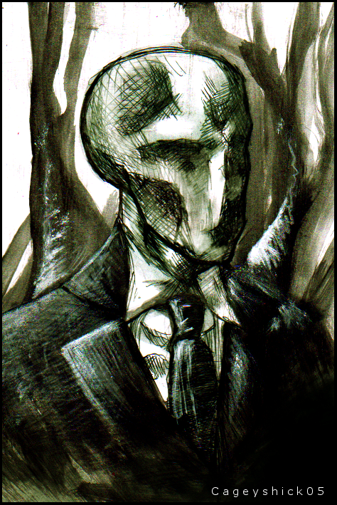 Slenderman water color portrait by Cageyshick05