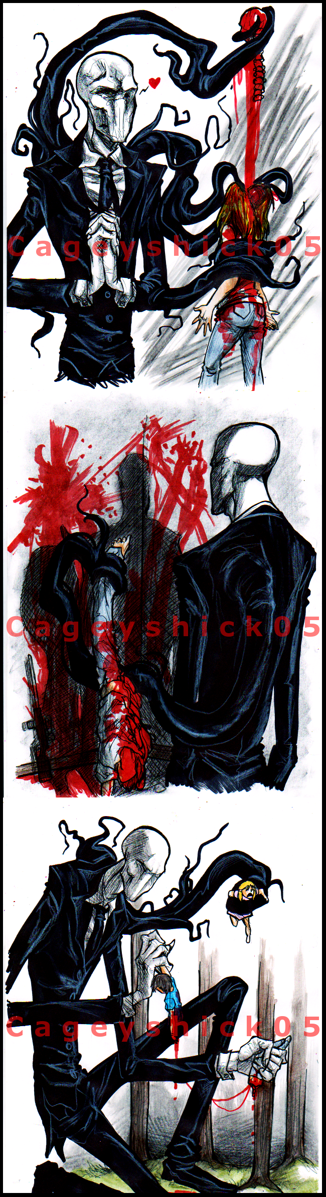 Slenderman doodles -10- by Cageyshick05